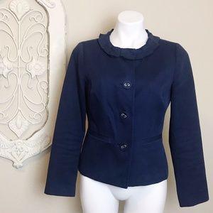 Boden | Navy Blue Blazer Ruffle Collar Jacket 10